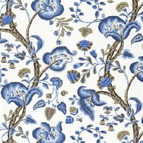 Marlena - Indigo - White viscose and linen blend fabric printed with beautiful florals in iron grey and several bright shades of blue