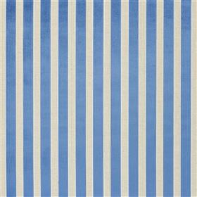 Culvante - Azure - Regular sky blue & very pale grey-white coloured vertical stripes on fabric made from viscose, polyester, linen & cotton