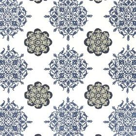 Alberesque - Midnight - Ornate black and midnight blue coloured patterns embroidered using 100% cotton on plain white 100% cotton fabric
