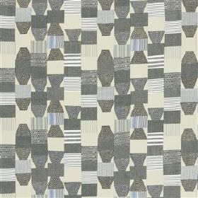 Campione - Ocean - Various striped and plain geometric shapes patterning 100% cotton fabric in several different shades of grey