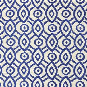 Valentina - Ink - 100% viscose embroidery on navy blue and white 100% linen fabric, featuring concentric circle and diamond patterns