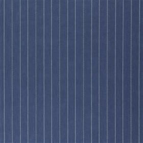 Melika - Ink - Dusky blue pinstripes patterning deep navy blue coloured 100% cotton fabric