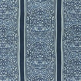 Felix - Indigo - Stripes and ornate patterns printed in midnight blue on an ice blue viscose and linen blend fabric background