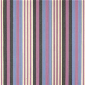 Trevente - Plum - Lilac, powder blue, charcoal and white stripes creating a vertical design on fabric made from linen and silk