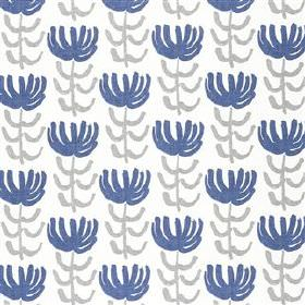 Pierrette - Ink - Stylised navy blue flowers with grey stems and leaves, printed repeatedly on white viscose and linen blend fabric