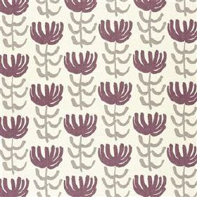 Pierrette - Violet - Aubergine, light grey and white viscose and linen blend fabric, featuring a simple, repeated, stylised floral design