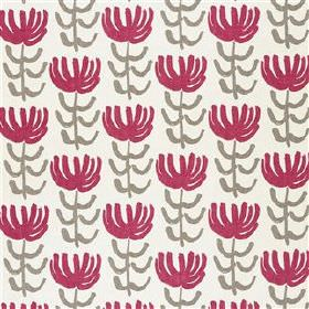 Pierrette - Beetroot - Off-white viscose and linen blend fabric printed with repeated stylised flowers in light grey and raspberry colours