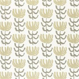 Pierrette - Greige - Light shades of grey and beige making a repeated, stylised floral print on fabric made from a blend of viscose and line
