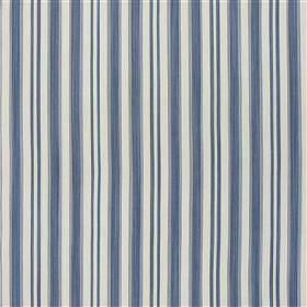 Warbstow - Marine - 100% cotton fabric made in blue-grey, navy blue and pale grey, with a regular vertical stripe design