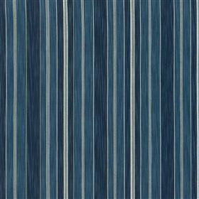 Bude - Ink - White and various different shades of marine blue making up a vertical stripe pattern on fabric made from 100% cotton