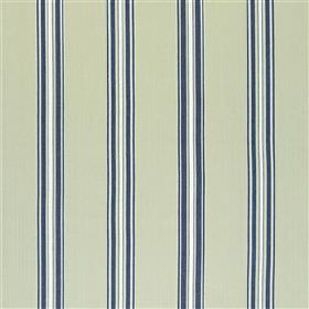 Tuckingmill - Navy - Light grey 100% cotton fabric, featuring a smart vertical stripe design in white and midnight blue