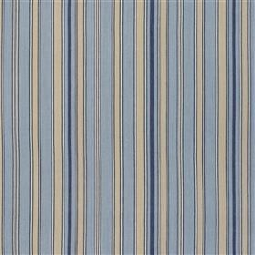 Herodsfoot - Navy - Vertical stripes patterning 100% cotton fabric in ash grey, powder blue and dark navy blue