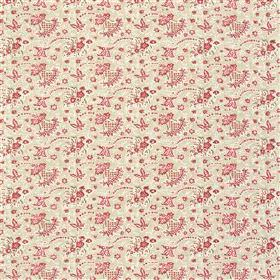 Antony - Oat - Raspberry coloured florals which are small and delicate, patterning a pale pinkish grey 100% cotton fabric background