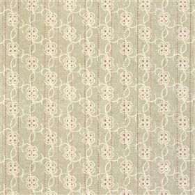 Carharrack - Oat - Pale grey-beige and off-white 100% cotton fabric patterned with small, dainty, delicate florals