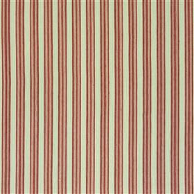 Falmouth - Poppy - Thin dark red and beige stripes running vertically down light silver-grey coloured cotton and linen blend fabric