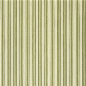 Falmouth - Olive - Cotton and linen blend fabric made with a thin, regular, vertical stripe design in light green, olive green and pale grey