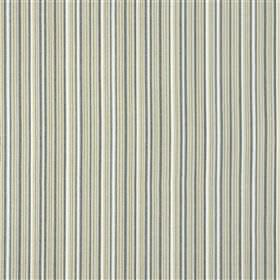 Zennor - Navy - 100% cotton fabric made in white and light shades of blue and grey, with a very thin regular pattern of vertical stripes