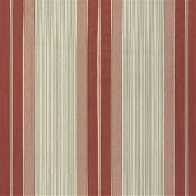 Fowey - Rose - Fabric made from dusky pink, blood red and pale grey coloured 100% cotton, with a wide and thin vertical stripe pattern