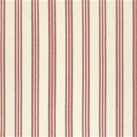 Endellion - Rose - Trios of dark raspberry and purple coloured vertical stripes set against a ivory coloured 100% cotton fabric background