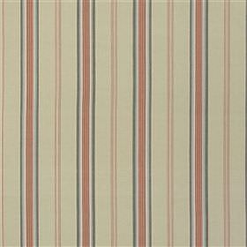 Hessenford - Rose - Vertically striped, pale pink, light grey, dusky red and dark marine blue coloured, linen and cotton blend fabric