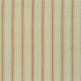 Camborne - Rose - Light shades of plum, grey and off-white making up a regular, vertical stripe design on fabric made from 100% cotton
