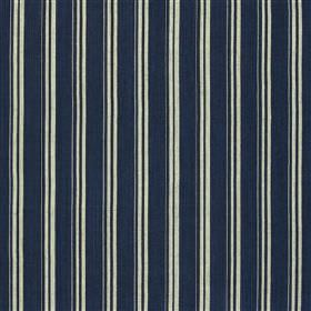 Wendron - Ink - Cotton and jute blend fabric made in dark navy blue and white, with a smart, sophisticated vertical stripe design