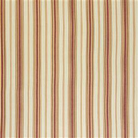 Kenwyn - Rose - Fabric made from a blend of linen and cotton in burgundy, caramel and pale grey-white, with a vertical stripe design