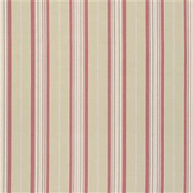 Hayle - Rose - Vertical stripes made in raspberry and light shades of grey and white, patterning linen and cotton blend fabric