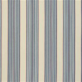 Bodmin - Marine - Clusters of light blue, navy blue and pale pink stripes on a creamy grey 100% cotton fabric background