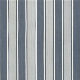 Godolphin - Marine - Light and dark shades of blue-grey, along with some white, creating a smart vertical stripe design on 100% cotton fabri