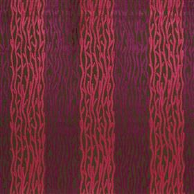 Elba - Cassis - Patterned hot pink and bright purple stripes running down dark brown viscose, cotton and polyester blend fabric