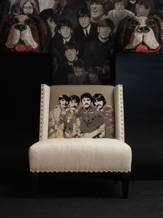 Andrew Martin -  Beatles Fabric Collection - Occasional chair in light beige with edging and depicting The Beatles in shades of beige.
