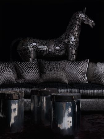 Andrew Martin -  Hurricane Fabric Collection - Dark grey cushions with trellis effect pattern.