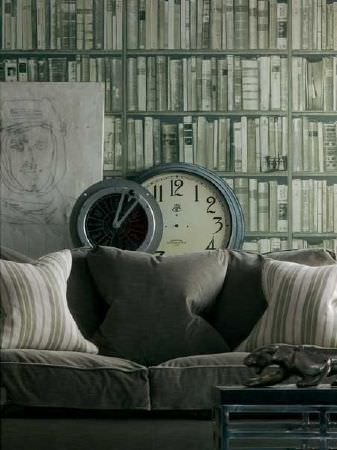 Andrew Martin -  Library Fabric Collection - Cushions with neutral background with light green stripes.