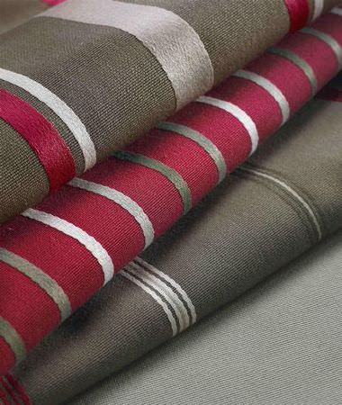 Ashley Wilde -  Berrington Fabric Collection - Berrington collection striped fabrics in red and brown