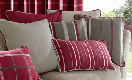 Ashley Wilde -  Berrington Fabric Collection - Ashley Wilde red and grey striped and plain patterned cushions