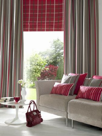 Ashley Wilde -  Berrington Fabric Collection - Beige and red stripe curtains, red check roman blind and various cushions