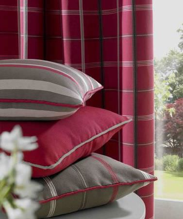 Ashley Wilde -  Berrington Fabric Collection - Red checked curtains and grey and red stripe cushions