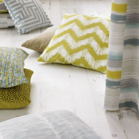 Ashley Wilde -  Blake Fabric Collection - Lime green, blue, grey and white patterned scatter cushions and curtains featuring stripes and various different designs