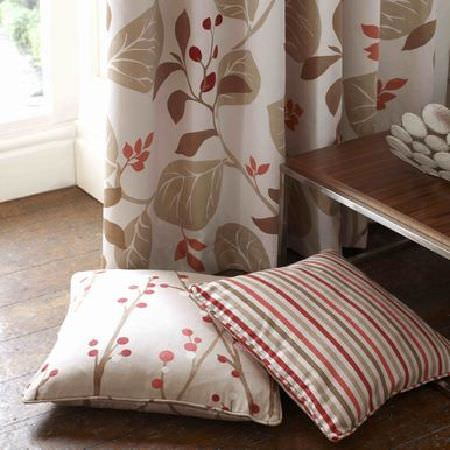 Ashley Wilde -  Bourey Fabric Collection - Leaf patterned cream curtains and cushion