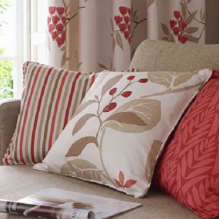 Ashley Wilde -  Bourey Fabric Collection - Floral leaf print and striped cushions in orange and cream