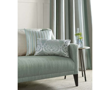 Ashley Wilde -  Coniston Fabric Collection - Upholstered sofa in mint green shade, matching elegant curtain and a set of decorative cushions