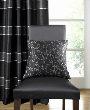 Ashley Wilde -  Cosenza Fabric Collection - Black horizontal striped curtain and grey floral cushion