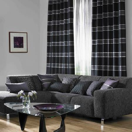 Ashley Wilde -  Cosenza Fabric Collection - Black stripe and sheer curtains with dark purple and grey textured cushions