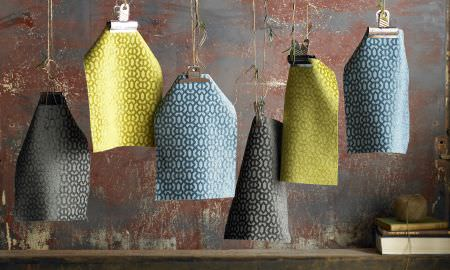 Ashley Wilde -  Heeley Fabric Collection - Samples from the Heeley Fabric Collection in yellow, blue and grey featuring stylish geometric patterns