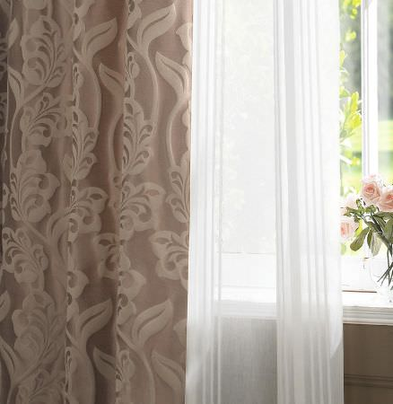 Ashley Wilde -  Imporo Fabric Collection - Simple transparent white curtain and a luxurious curtain in dark rose shade decorated with a floral pattern