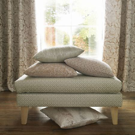 Ashley Wilde -  Kensington Fabric Collection - Small, subtle patterns in white, silver and cream-beige, covering curtains, four scatter cushions, and a low footstool