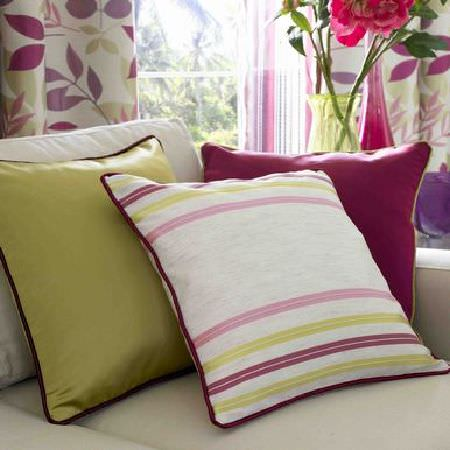 Ashley Wilde -  Linden Fabric Collection - White, green and pink striped and plain cushions with piping
