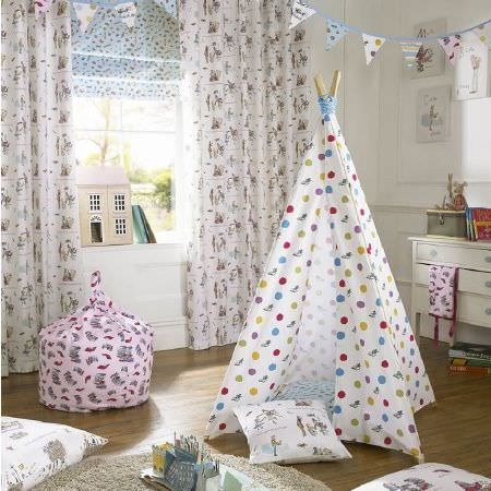 Ashley Wilde -  Roald Dahl Fabric Collection - White polka dot teepee, fun printed curtains, matching cushion, pink patterned beanbag, coloured bunting, cream rug, cream chest of drawers