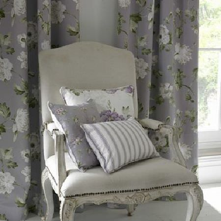 Ashley Wilde -  Secret Garden Fabric Collection - Grey curtain with white floral pattern and various cushions
